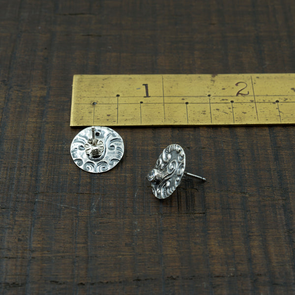 Flora and Scrolling Stud Earrings-Embossed Sterling with Cubic Zirconia