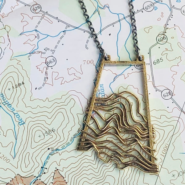Waves/Topographic Pendant in Brass