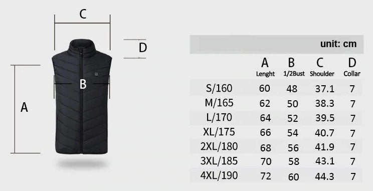 Electric Heated Vest Size