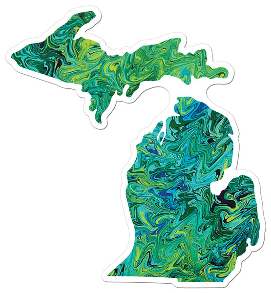 Green Michigan Sticker