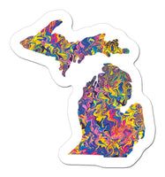mini Sunset Michigan Art Sticker