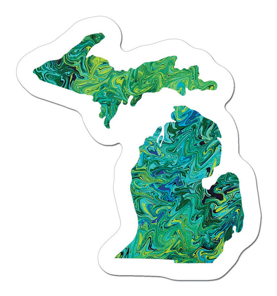 mini Green Michigan Sticker