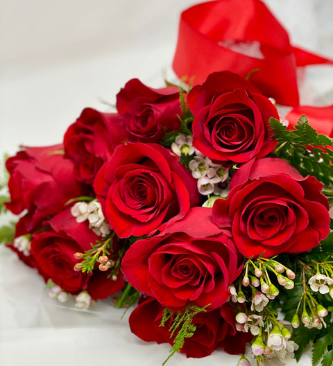 Valentine Roses Arranged in a Hand-Tied Bouquet