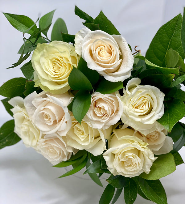 Classic White & Cream Rose Bouquet