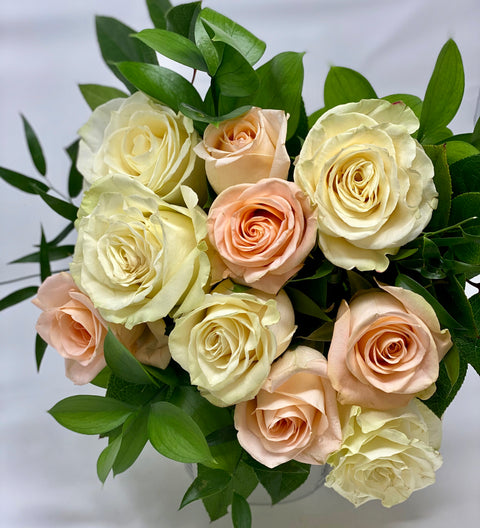 Peaches & Cream Rose Bouquet