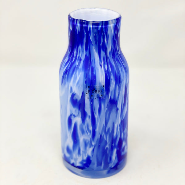 Fidrio Vase Blue & White Cylinder Small