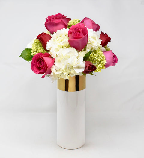 Valentine Arrangement in Tall Gold & White Vase