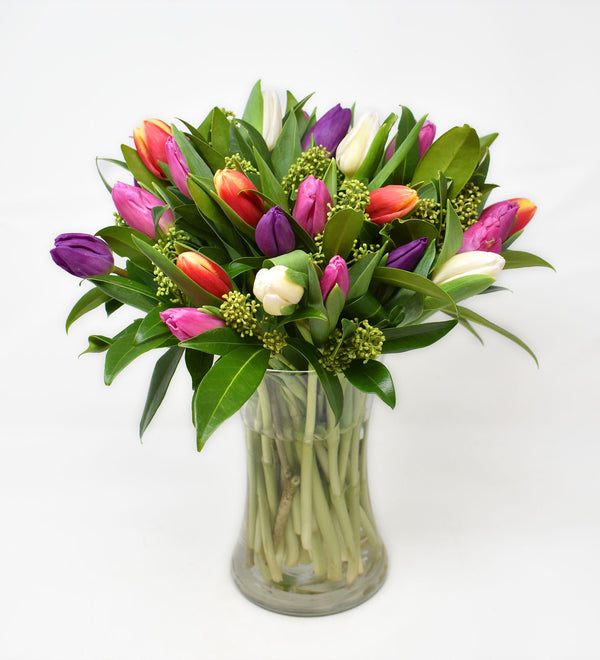 Bright & Bold Tulips in a Tall Vase