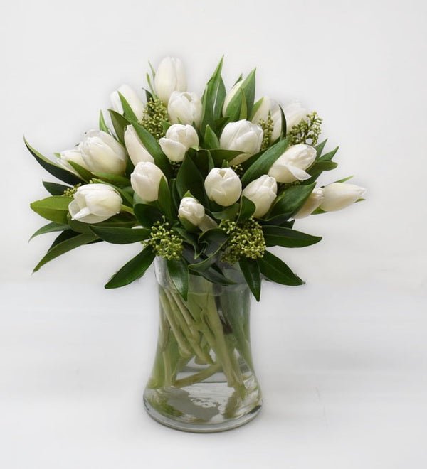 Classic White Tulips in a Tall Vase