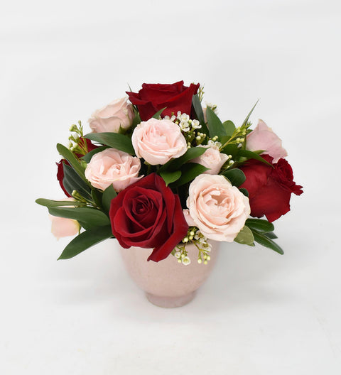 Valentine Roses in Pink Compote