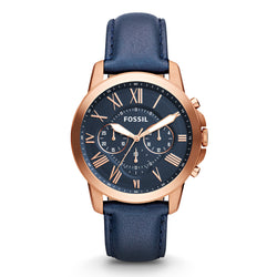 WW0070 Fossil Grant Chronograph Navy Leather Belt Watch FS4835