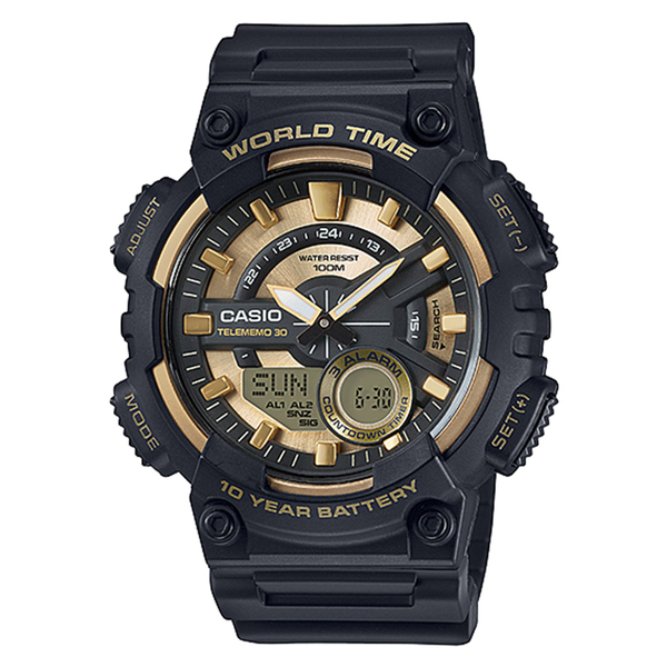 WW0610 Casio World Time Multi Function Belt Watch AEQ-110BW-9AV