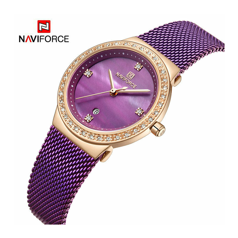 WW1180 Naviforce Ladies Date Mesh Chain Watch NF5005L