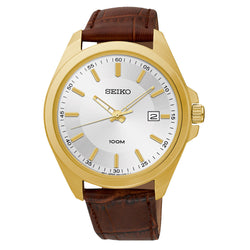 WW0909 Seiko Golden Date Leather Belt Watch SUR064P2