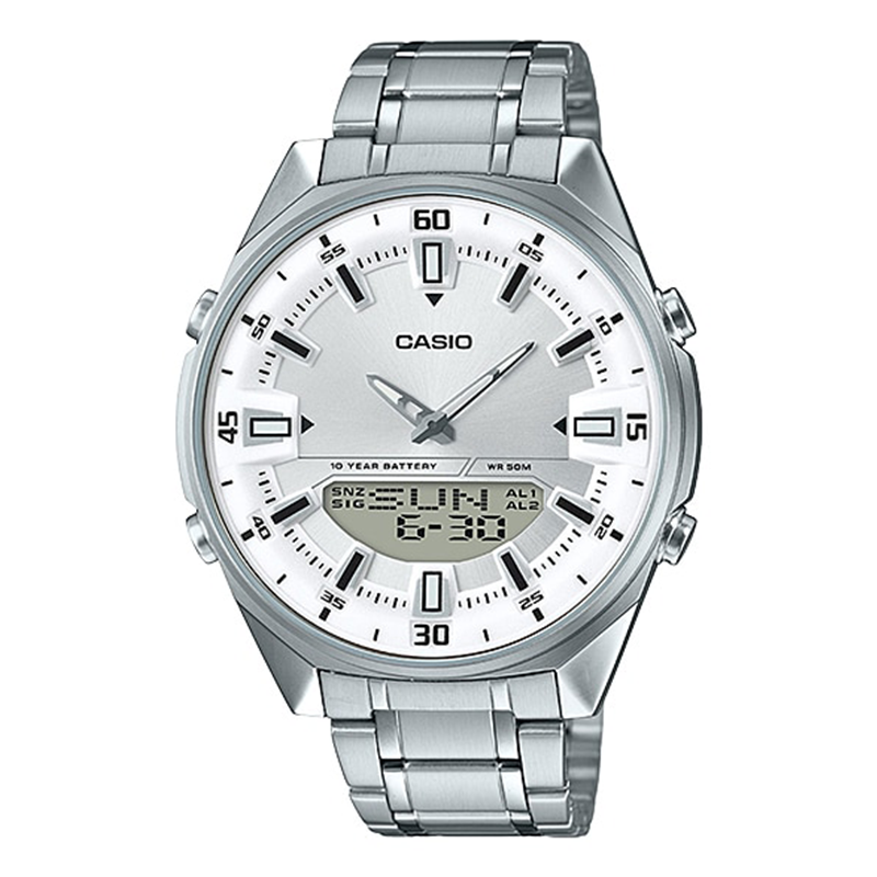 WW0107 Casio Analog Digital Stainless Steel Chain Watch AMW-830D-7AV