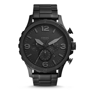 WW0264 Fossil Nate Chronograph Black Stainless Steel Chain Watch JR1401