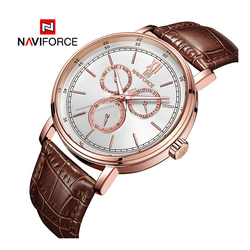 WW1040 Naviforce Sweep Second Multifunction Leather Belt Watch NF3002M