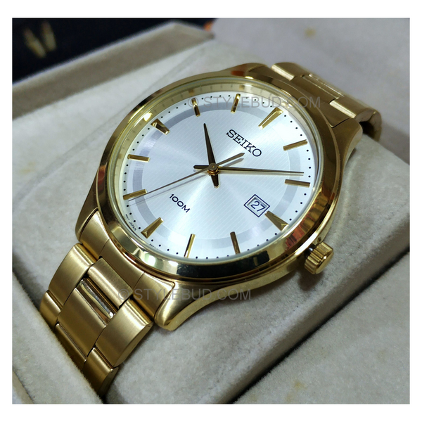 WW0764 Seiko Date Stainless Steel Golden Chain Watch SUR054P1