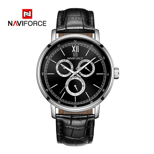 WW0065 Naviforce Sweep Second Multifunction Leather Belt Watch NF3002M