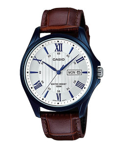 WW0072 Casio Enticer Day Date Leather Belt Watch MTP-1384BUL-5AV