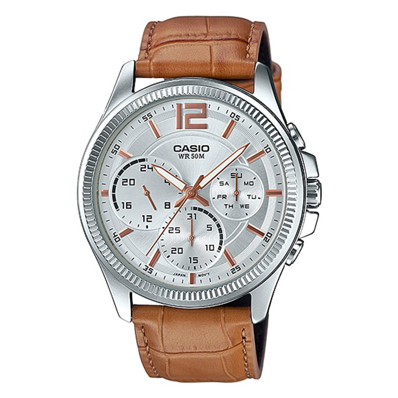 WW0032 Casio Enticer Day Date Leather Watch MTP-E305L-7A2V