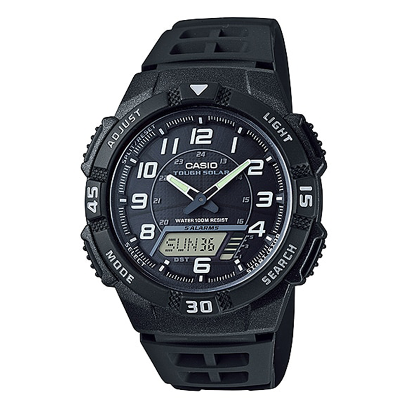 WW0078 Casio Tough Solar Dual Time Belt Watch AQ-S800W-1BV