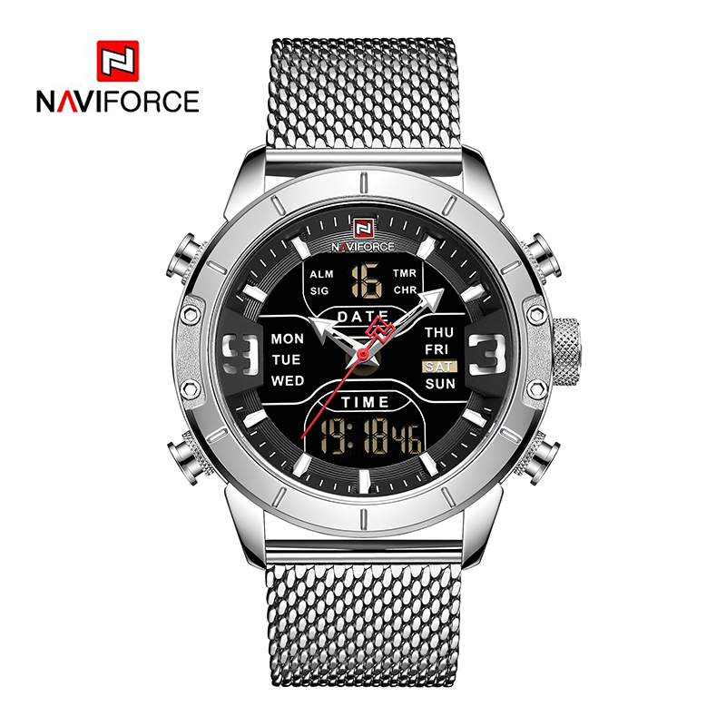 WW0934 Naviforce Multifunction Dual Time Mesh Chain Watch