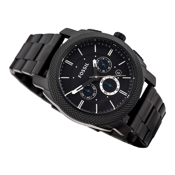 WW0186 Fossil Machine Chronograph Black Stainless Steel Chain Watch FS4552