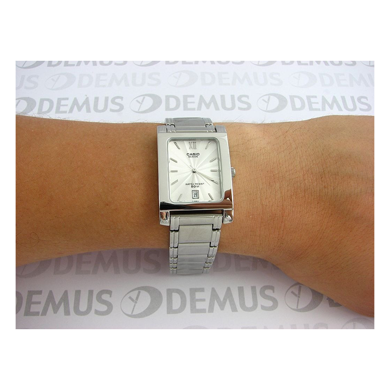 WW0306 Casio Beside Stainless Steel Date Chain Watch BEM-100D-7AV