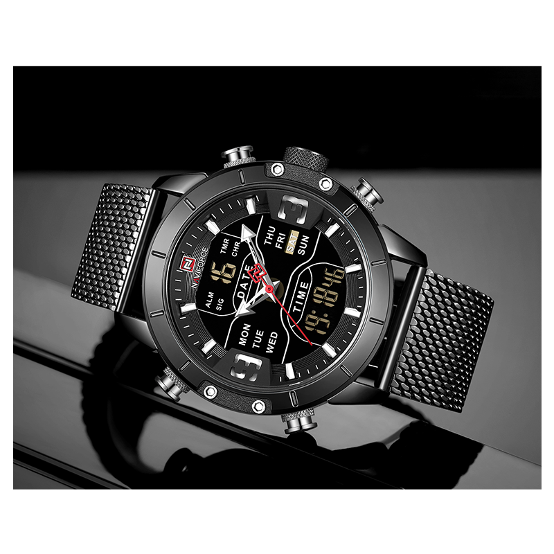 WW0977 Naviforce Multifunction Dual Time Mesh Chain Watch