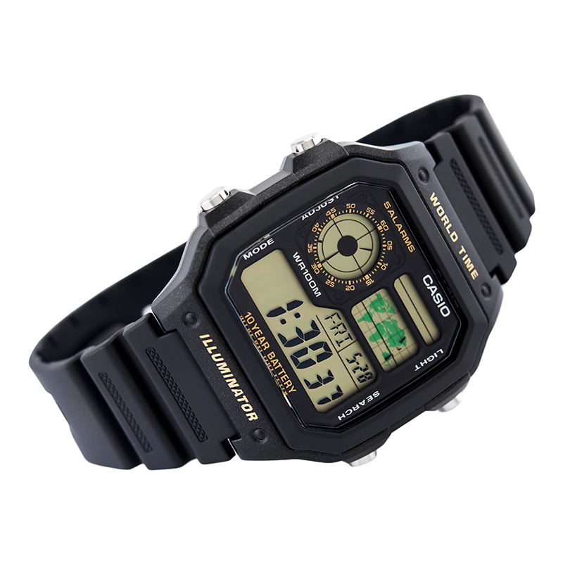 WW0395 Casio World Time Belt Watch AE-1200WH-1BV