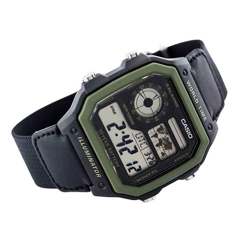 WW0046 Casio World Time Nylon Belt Watch AE-1200WHB-1BV