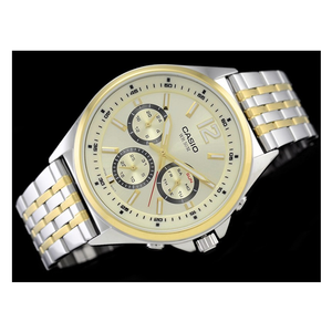 WW0593 Casio Enticer Multifunction Day Date Stainless Steel Chain Watch MTP-E303SG-9AV
