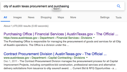 Googles results for Austin Texas Purchasing