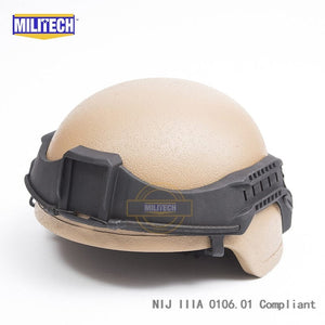 MILITECH CB MICH ACH Full Cut NIJ IIIA 3A Aramid Ballistic Bullet Proof Bulletproof Helmet With Tactical Visor Railband Set - Atomic Defense