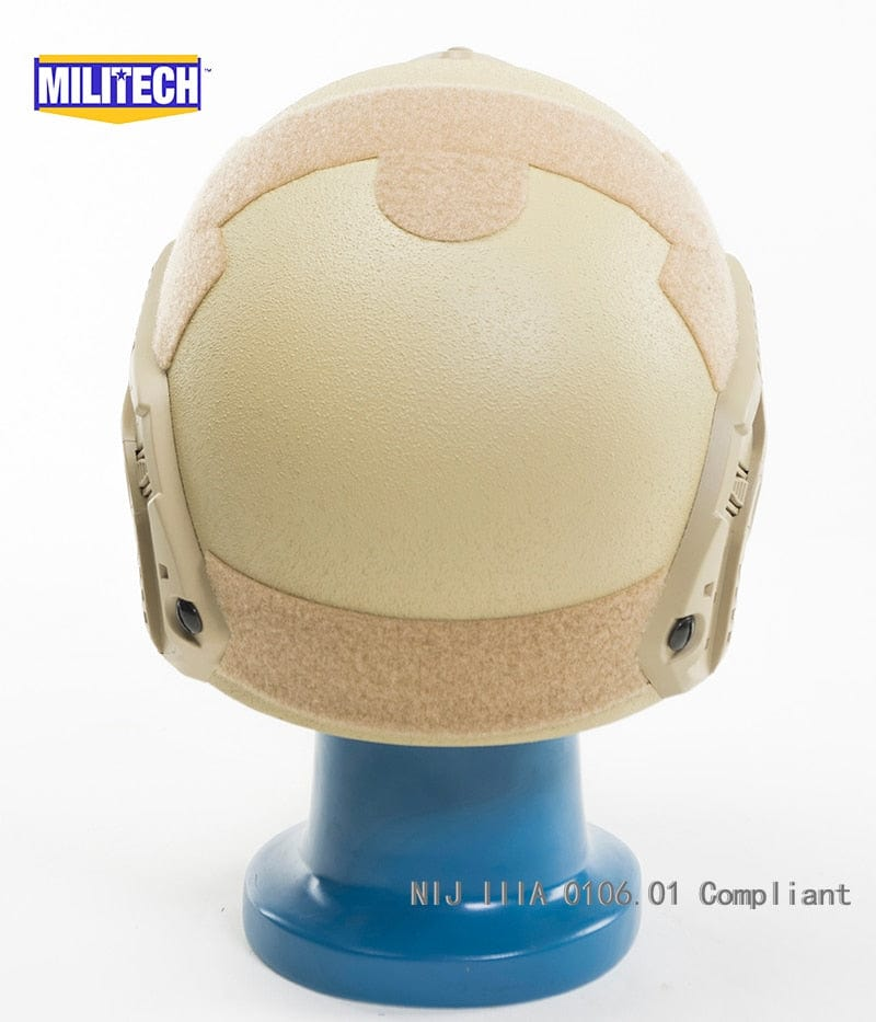 MILITECH Desert Tan DE Deluxe NIJ IIIA FAST Bulletproof Helmet and Visor Set Deal Ballistic Helmet Ballistic Bullet Proof Pack - Atomic Defense