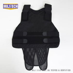 Black NIJ IIIA 3A and Level 2 Stabproof Kevlar Bulletproof Vest - Atomic Defense
