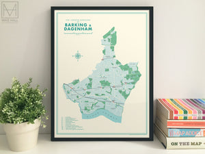 Barking & Dagenham (London borough) retro map giclee print