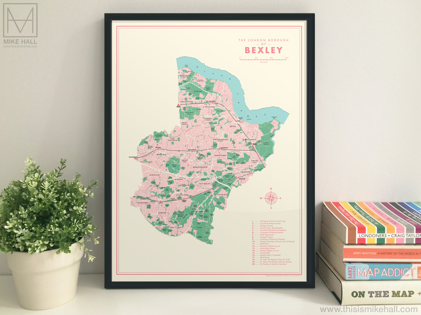 Bexley (London borough) retro map giclee print