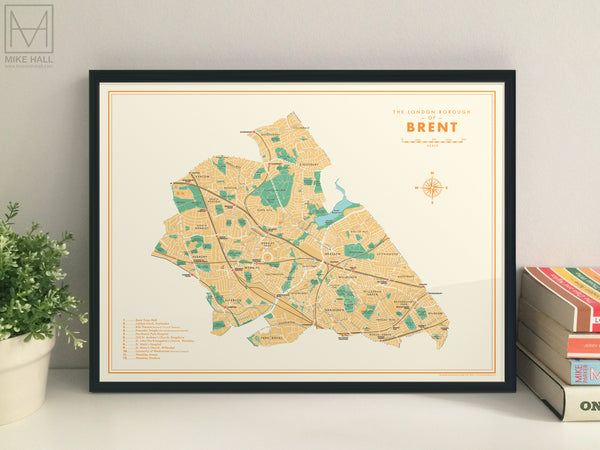 Brent (London borough) retro map giclee print