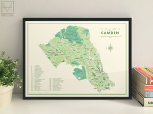Camden (London borough) retro map giclee print