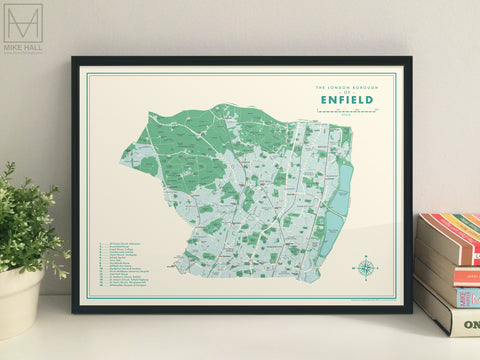 Enfield (London borough) retro map giclee print