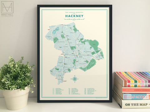 Hackney (London borough) retro map giclee print