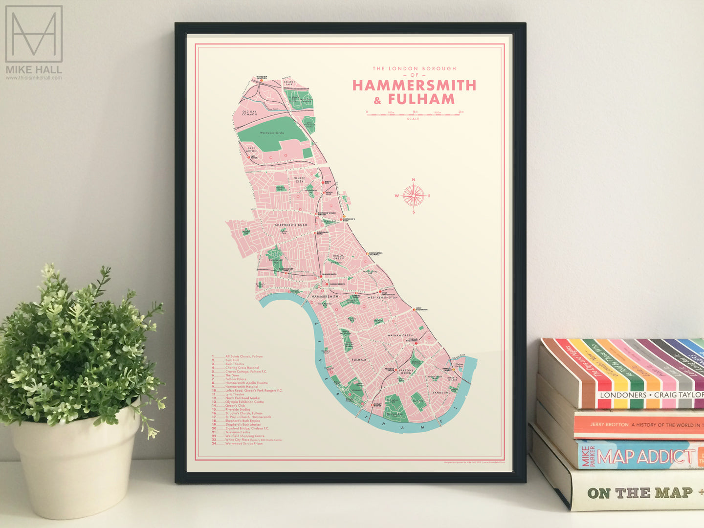 Hammersmith & Fulham (London borough) retro map giclee print