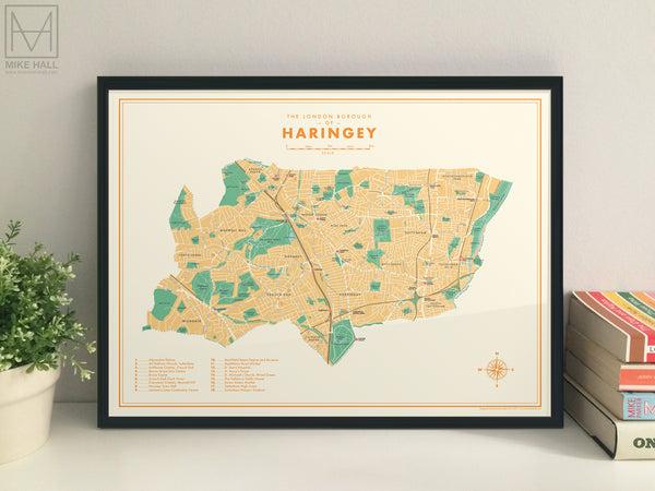 Haringey (London borough) retro map giclee print