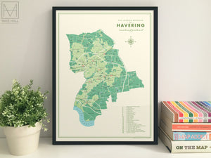 Havering (London borough) retro map giclee print