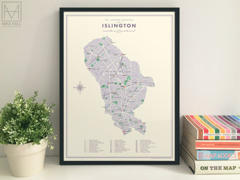 Islington (London borough) retro map giclee print