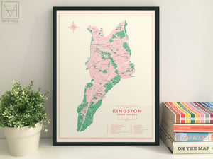 Kingston upon Thames (London borough) retro map giclee print