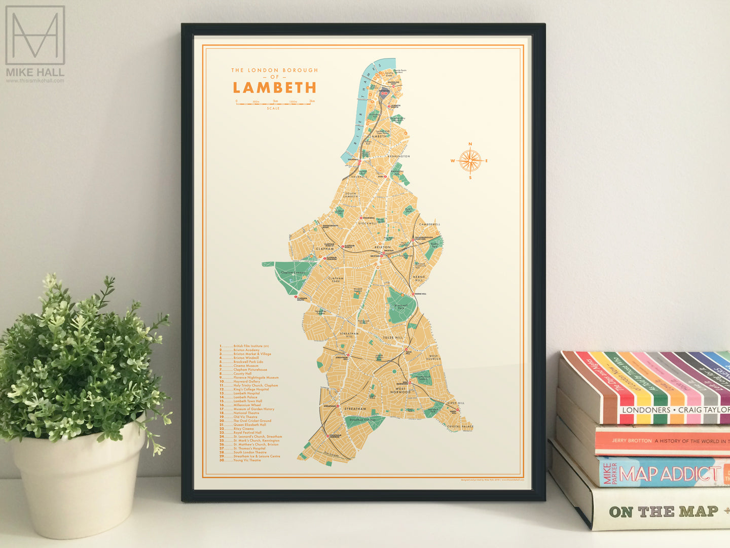 Lambeth (London borough) retro map giclee print
