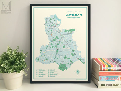 Lewisham (London borough) retro map giclee print